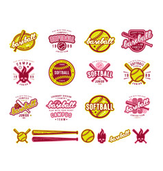 set of baseball and softball badges vector image