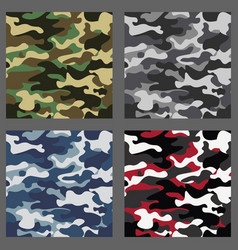 Set of camouflage seamless patterns background vector