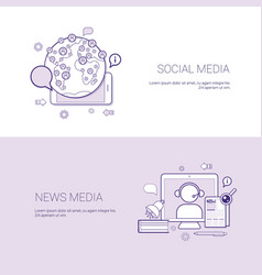 set of social and news media banners business vector image vector image