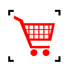 Shopping cart sign red icon inside black vector