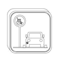 silhouette button disabled park area vector image vector image