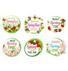 Spring time greeting quotes in icons set vector