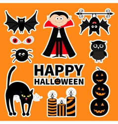 Sticker patch badge set Count Dracula monster vector image vector image