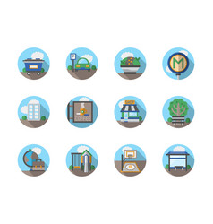 Urban areas flat round icons vector
