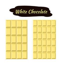 White chocolate in flat style sweet organic cacao vector