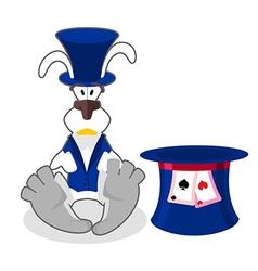 White rabbit in blue hat bunny in waistcoat vector