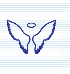 Wings sign navy line icon on vector