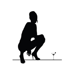 woman sensual silhouette with martini glass vector image vector image