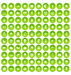 100 leaf icons set green circle vector