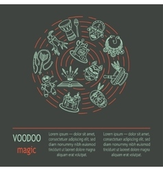 Modern card with voodoo magic line icons vector