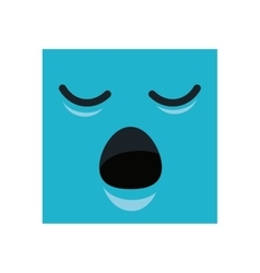 Face square emoticon kawaii style vector