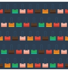 Pattern with multi-colored stationery clip vector