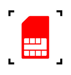 Sim card sign red icon inside black focus vector