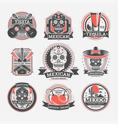 mexican vintage isolated label set vector image
