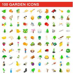 100 garden icons set isometric 3d style vector