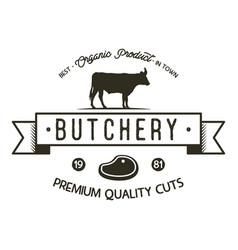 Butchery shop logo template old style badge vector