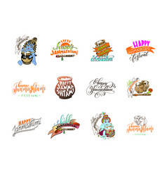 Krishna janmashtami celebration logo design vector