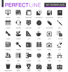 Black classic office workspace web icons set vector