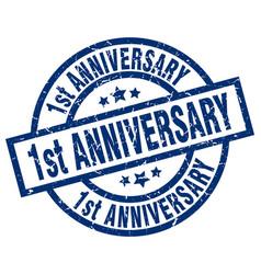 1st anniversary blue round grunge stamp vector