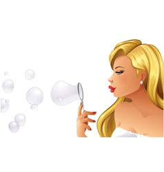 Woman blowing bubbles vector