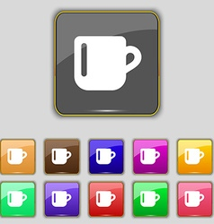 Cup coffee or tea icon sign set with eleven vector
