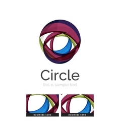 Circle logo transparent overlapping swirl shapes vector