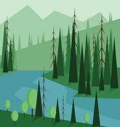 Abstract landscape design with green trees hills vector