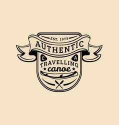 authentic camp logo tourist sign with hand vector image vector image