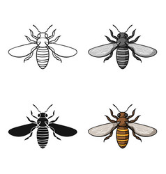 Bee icon in cartoon style isolated on white vector