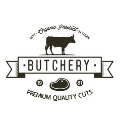 butchery shop logo template old style badge vector image vector image