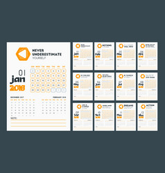calendar template for 2018 year in clean design vector image