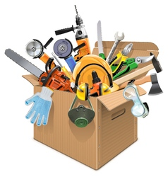 Carton box with tools vector