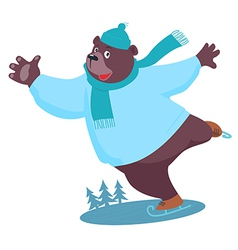 Cartoon Bear ice skating vector image vector image