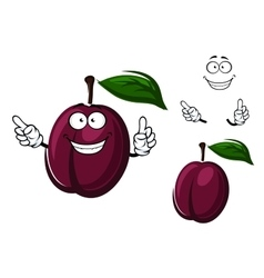 Cartoon plum fruit with purple peel vector