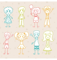 Collection of happy children hand drawn cartoon vector