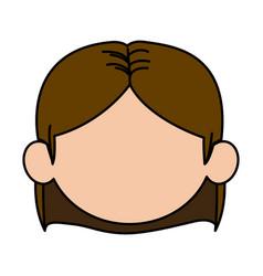 Cute cartoon girl laugh face expression vector