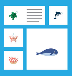 Flat icon marine set of cachalot playful fish vector
