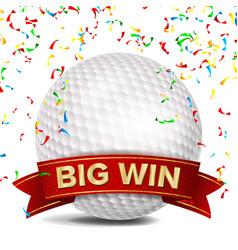 golf award red ribbon big sport game win vector image vector image