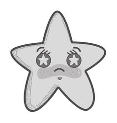 Grayscale kawaii angry star with stars inside eyes vector