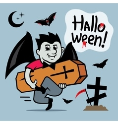 Halloween Vampire with coffin Cartoon vector image vector image