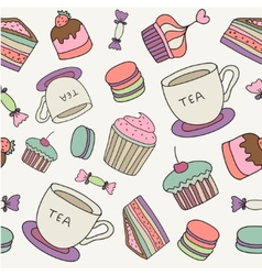 hand drawn cakes sweets macaroons tea cup seamless vector image vector image