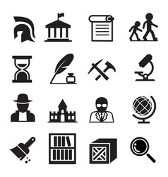 History archaeology icons vector