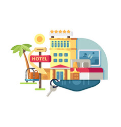 Hotel building five stars vector