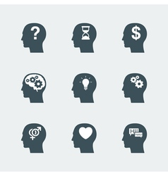 human head icons set vector image vector image