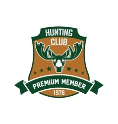 Hunting club membership badge with mature elk vector