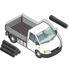 Isometric White Van and some pipes vector image
