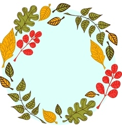 Leaves on a round blue background vector image vector image