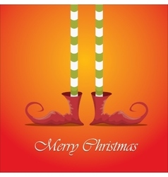 merry christmas card with cartoon elfs legs vector image vector image
