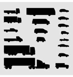 Monochrome vehicle icons vector image vector image