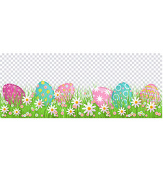 Painted egg in spring flowers easter decoration vector